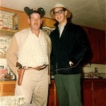 Big Ed , (Herman Edwards) caretaker, (one eye, eight fingers, great guy), with Les Liman, dressed for the great skunk hunting expendition that included Mike Maggenheim and Jonathon Turkel