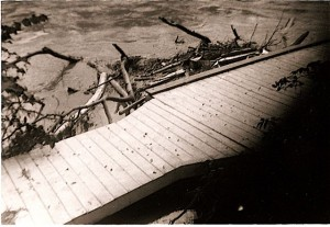 Boat dock in the Delaware River, Hurricane Diane, August, 1955
