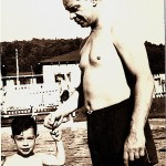 Babe Liman and son Les in Delawaxen's swimming pool for boys, about 1950